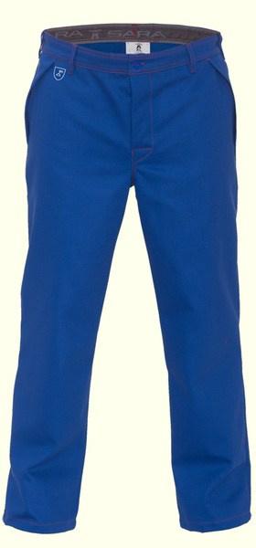 Spodnie robocze spawalnicze niebieskie, spodnie trudnopalne Norma EN ISO 11611 , wzmocnienia kolan z miejscem na nakolanniki