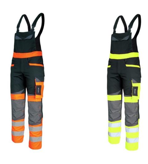 cf851f19edb3a4 Spodnie robocze ogrodniczki ostrzegawcze SLIM FIT , odblaskowe z ciemnymi  wstawkami